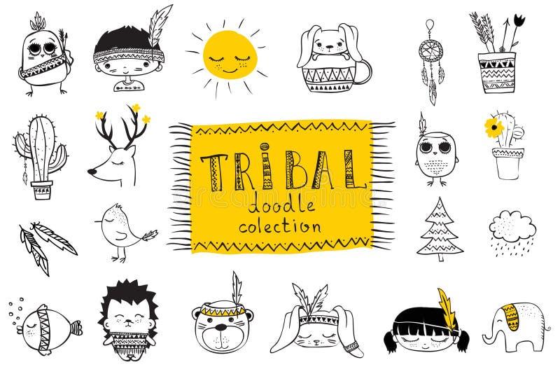 Grupo de animais tribais da garatuja bonito ilustração royalty free