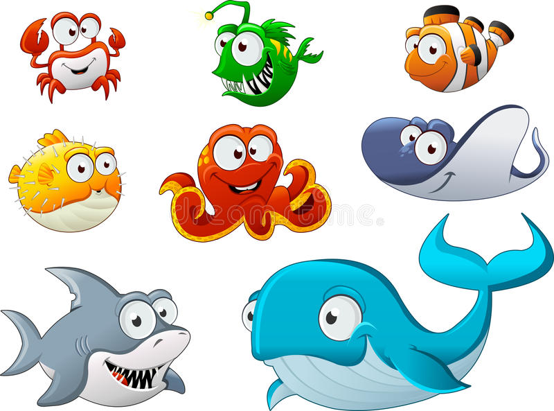 Grupo de animal subaquático dos desenhos animados ilustração do vetor