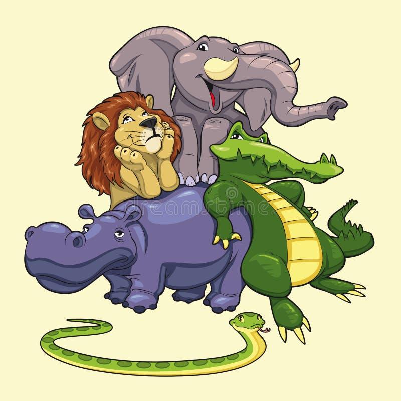 Grupo de animales de la sabana. ilustración del vector
