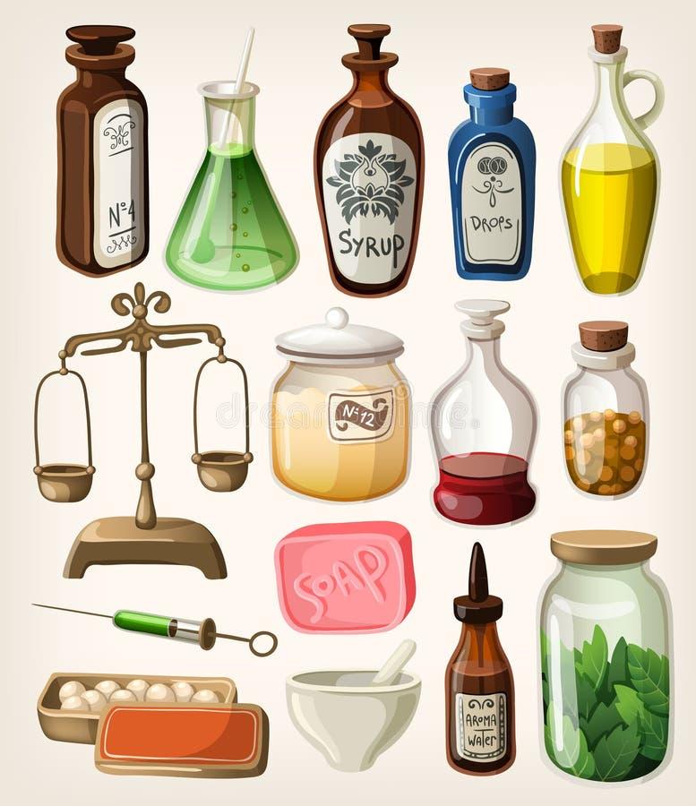 Grupo de apothecary e de subministros médicos do vintage ilustração royalty free