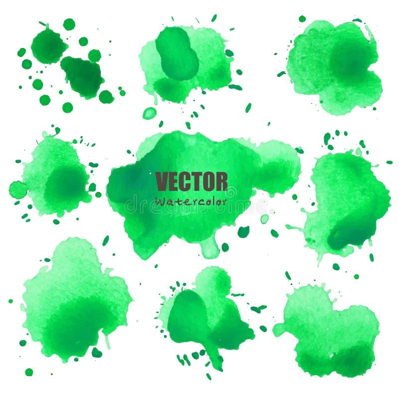 Grupo de aquarela do verde do respingo, textura do pulverizador da aquarela do respingo isolada no fundo branco ilustração stock