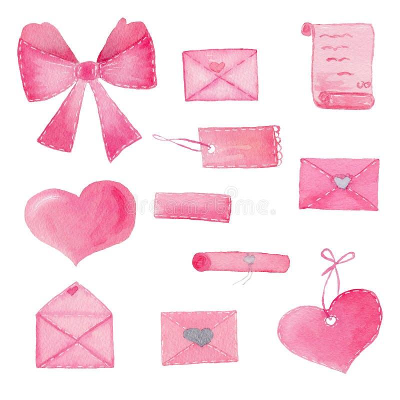 Grupo de aquarela pintado à mão com corações, envelopes, curva na cor cor-de-rosa ilustração do vetor