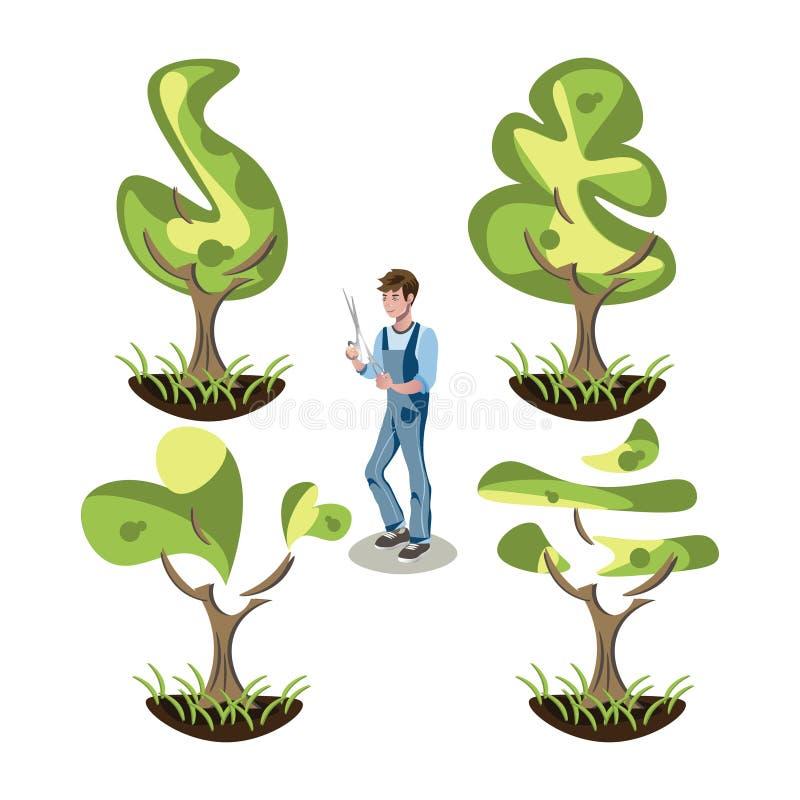 Grupo de arbustos do topiary de formas diferentes ilustração do vetor
