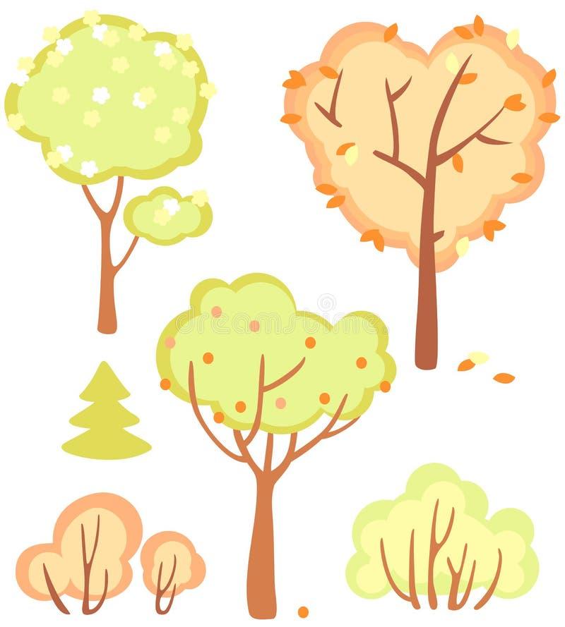 grupo de arbustos e de árvores ilustração stock