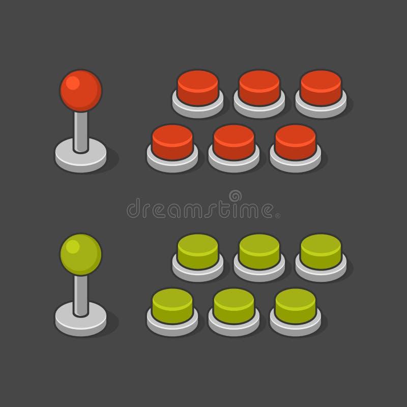 Grupo de Arcade Game Machine Buttons e do manche Vetor ilustração do vetor