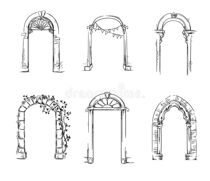 Grupo de arcos Detalhe arquitectónico ilustração royalty free