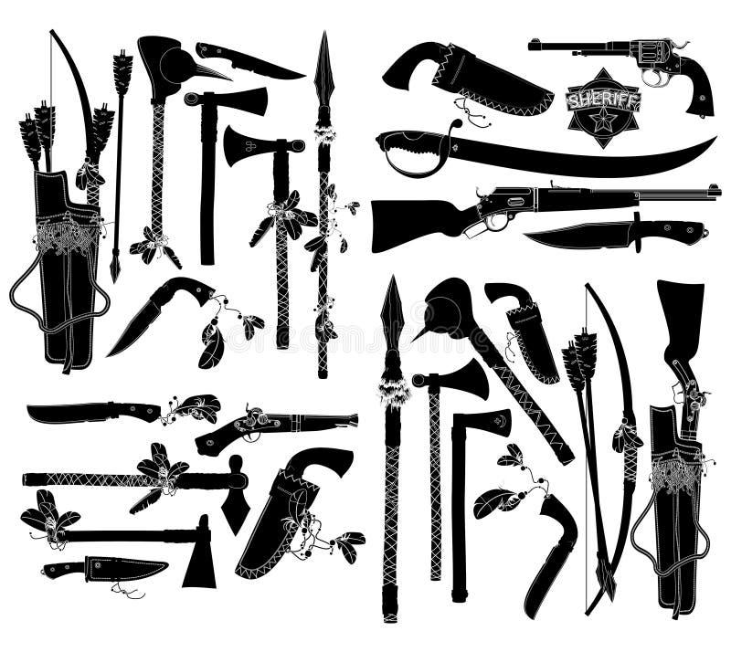 Grupo de armas antigas ilustração do vetor