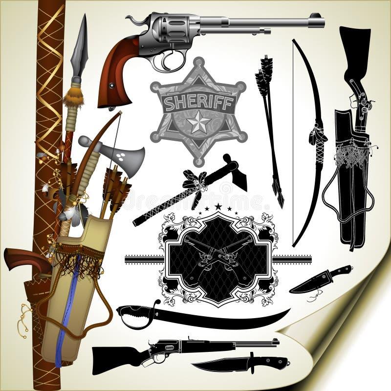 Grupo de armas antigas ilustração stock