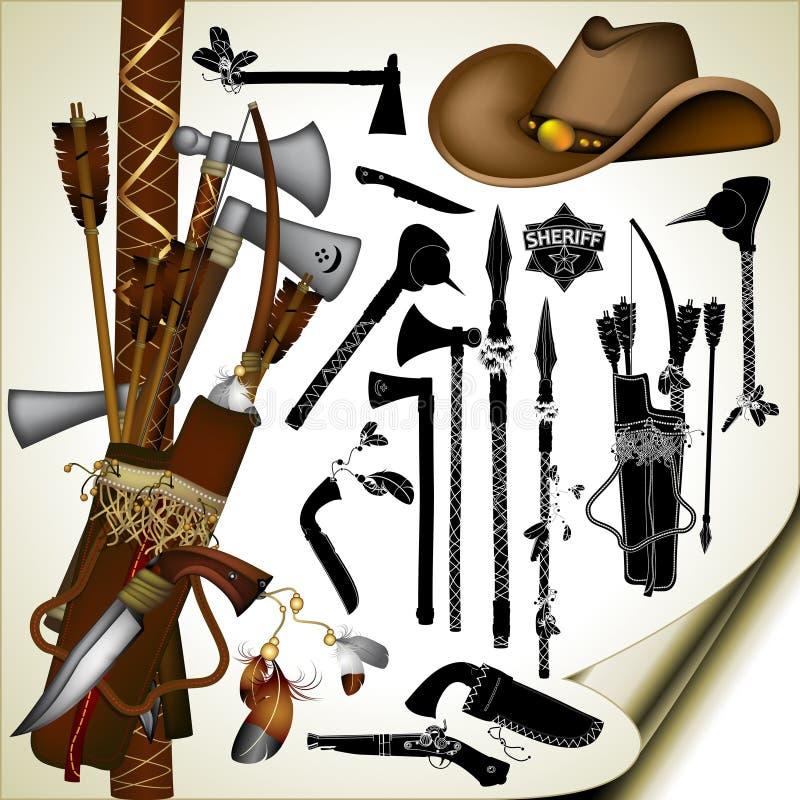 Grupo de armas antigas ilustração royalty free