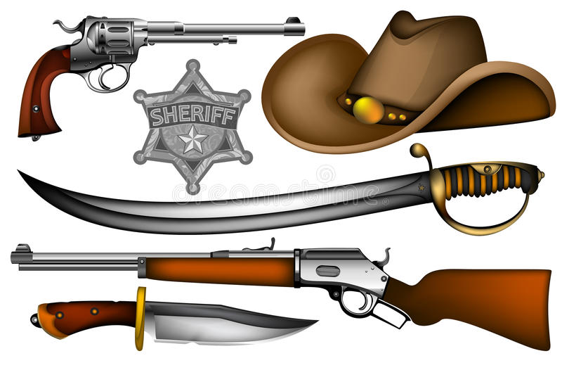 Grupo de armas dos xerifes ilustração stock