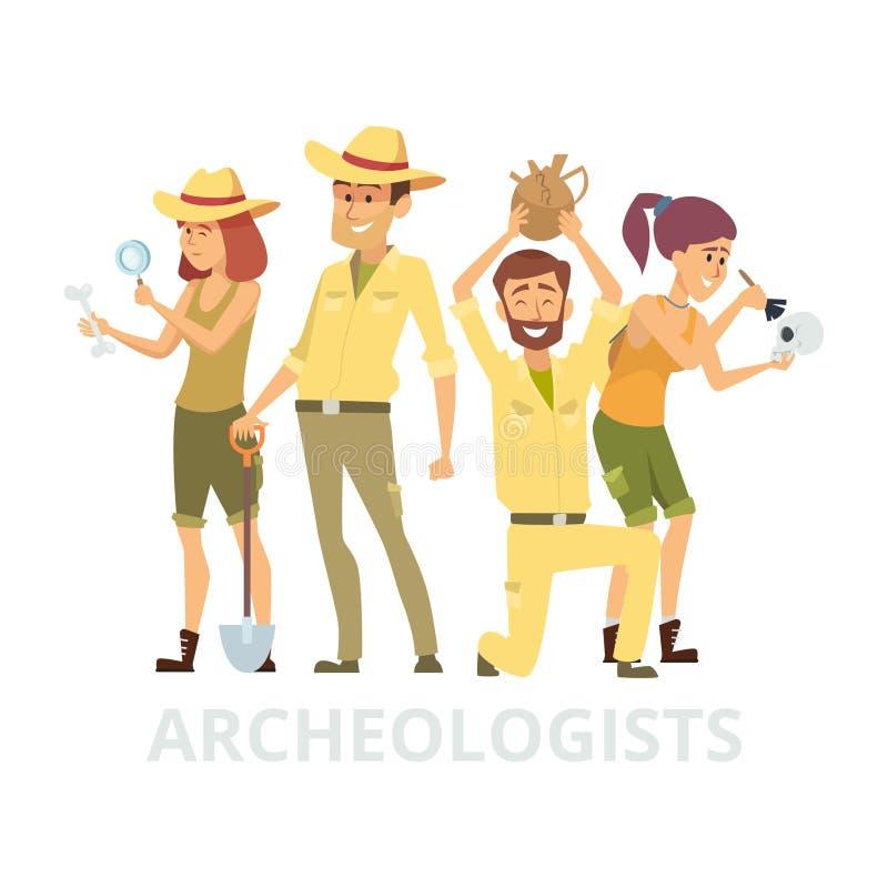 Grupo de arqueólogos aislados en el fondo blanco Ejemplo de los caracteres de los arqueólogos del vector libre illustration