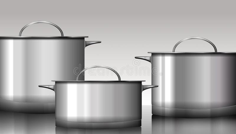 Grupo de artículos de cocina del acero inoxidable aislado en blanco Vector i libre illustration