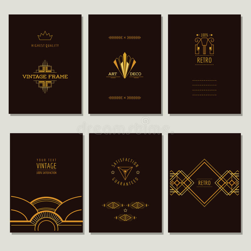 Grupo de Art Deco Cards e de quadros ilustração royalty free