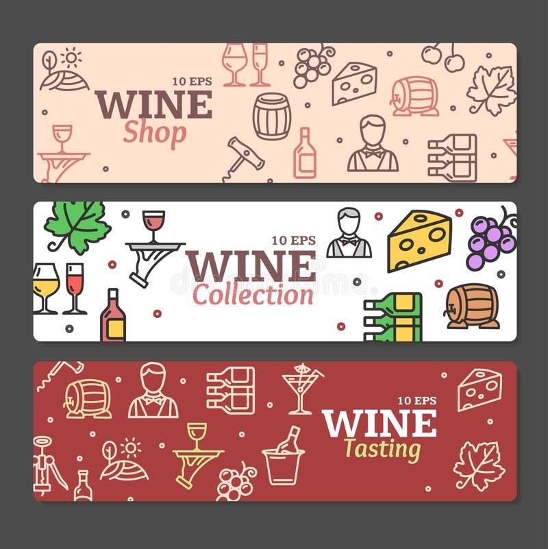 Grupo de Art Wine Banners e de etiquetas Vetor ilustração stock
