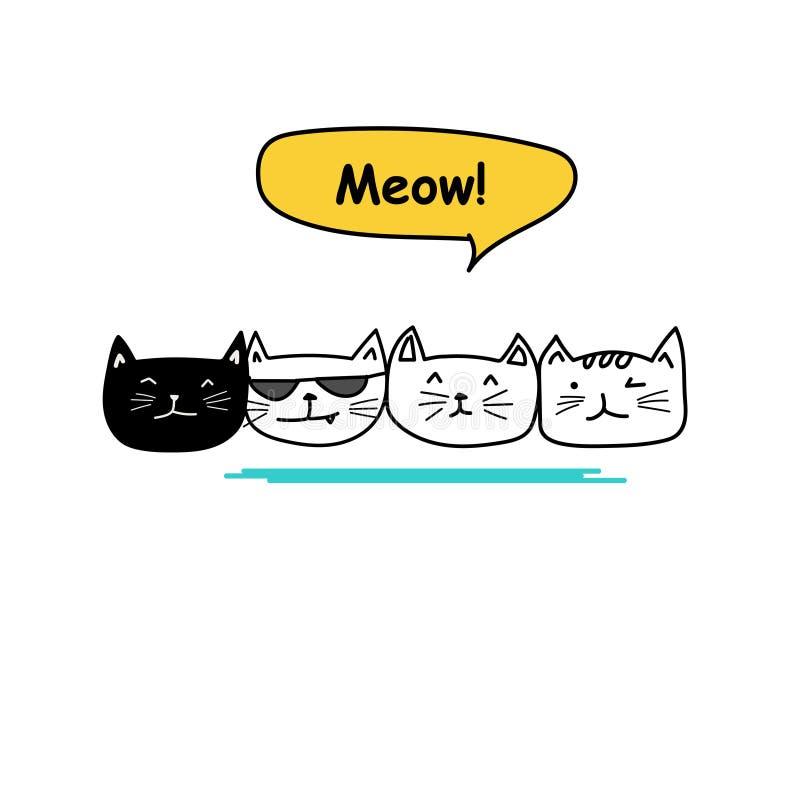 Grupo de arte bonito da garatuja do gato ilustração stock