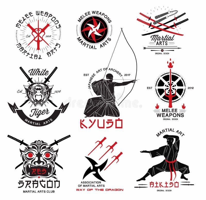 Grupo de artes marciais, de logotipo japonês das armas do samurai, de emblemas e de elementos do projeto ilustração royalty free