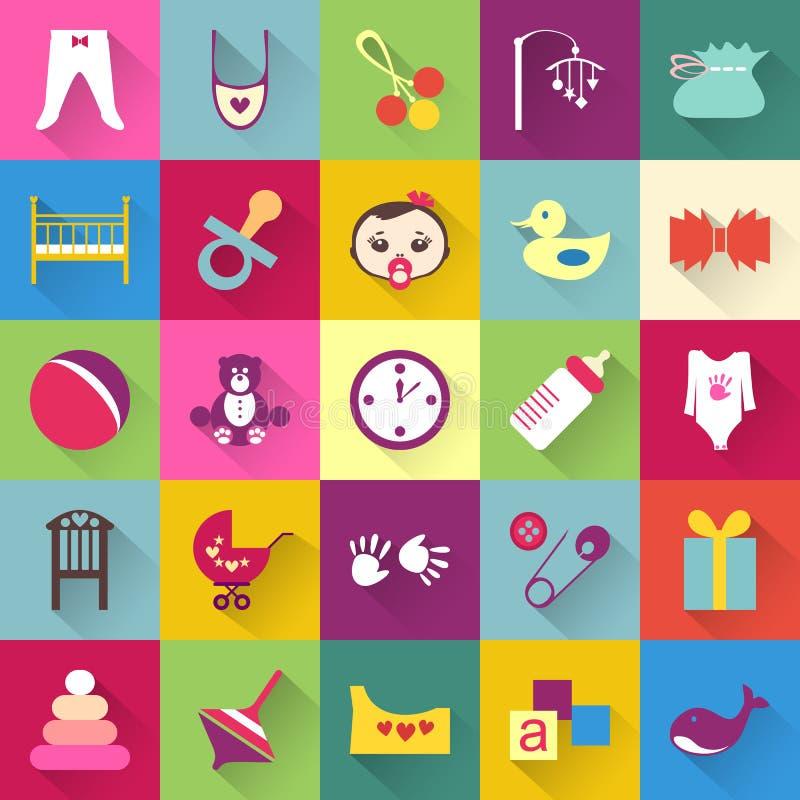 Grupo de artigos coloridos do bebê com sombras ilustração stock