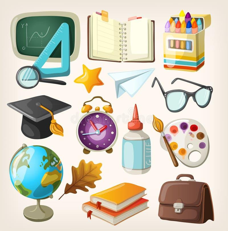 Grupo de artigos da escola. ilustração stock