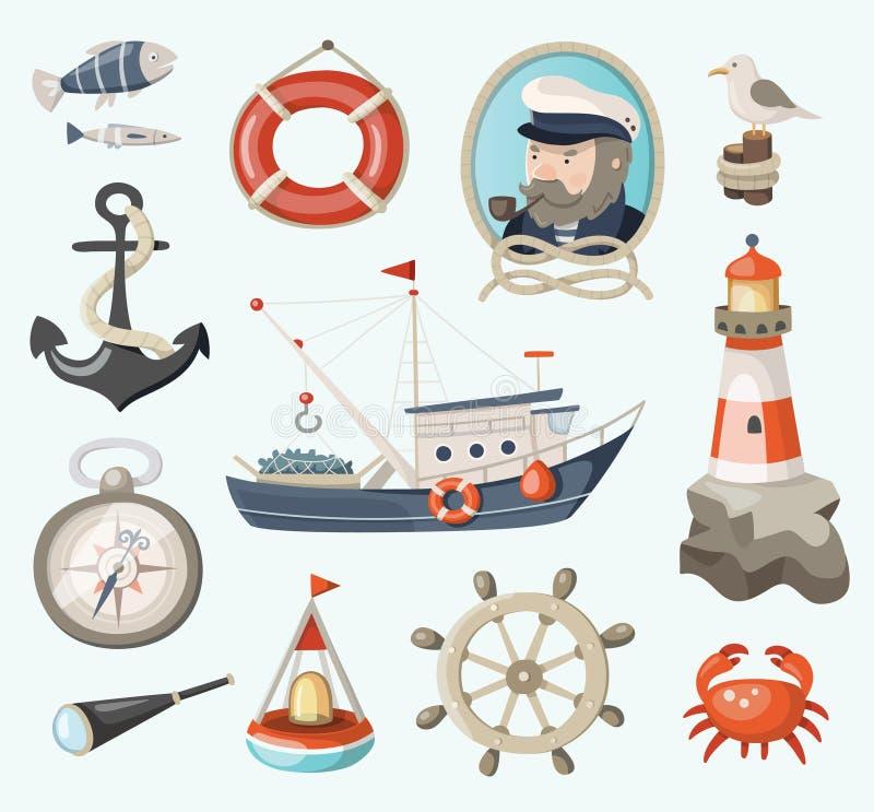 Grupo de artigos da pesca ilustração do vetor