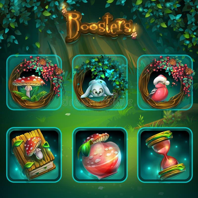 Grupo de artigos diferentes para a interface de utilizador do jogo Vector a tela da ilustração do fundo ao GUI sombrio da florest ilustração royalty free