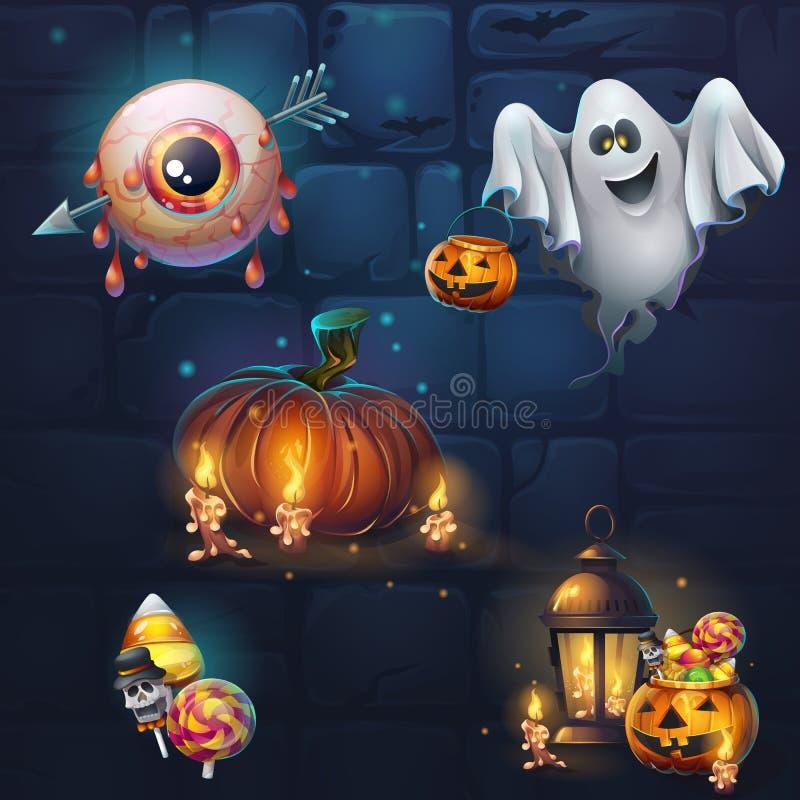 Grupo de artigos diferentes para o tema Dia das Bruxas da interface de utilizador do jogo ilustração stock