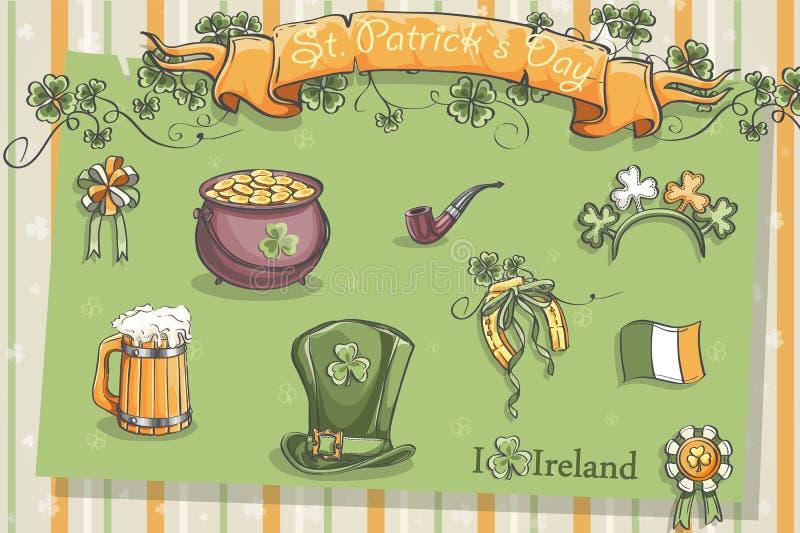Grupo de artigos diferentes para St Patrick ilustração do vetor