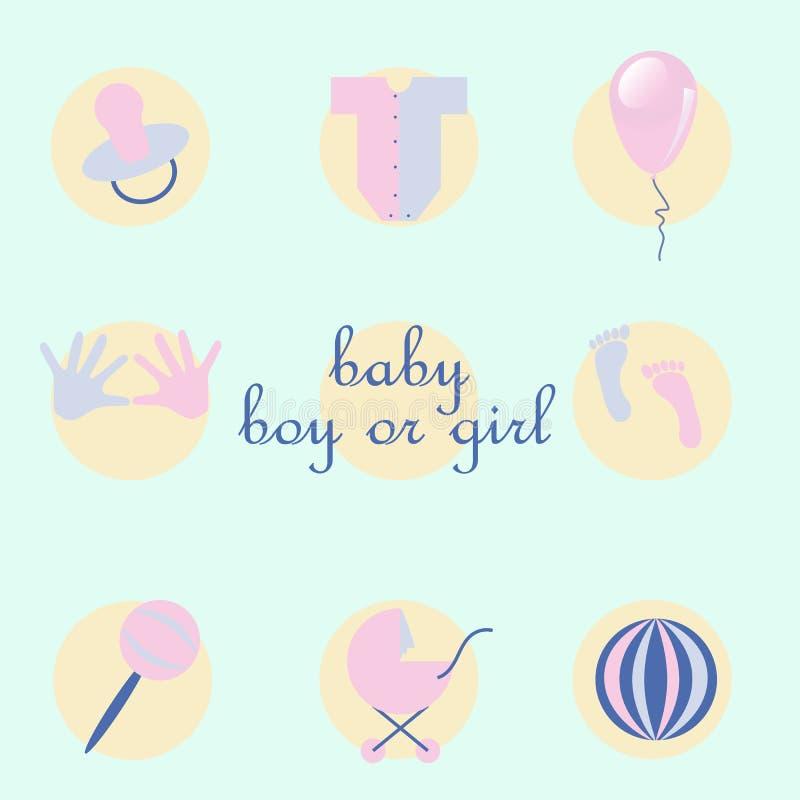 Grupo de artigos do bebê no estilo liso ilustração do vetor