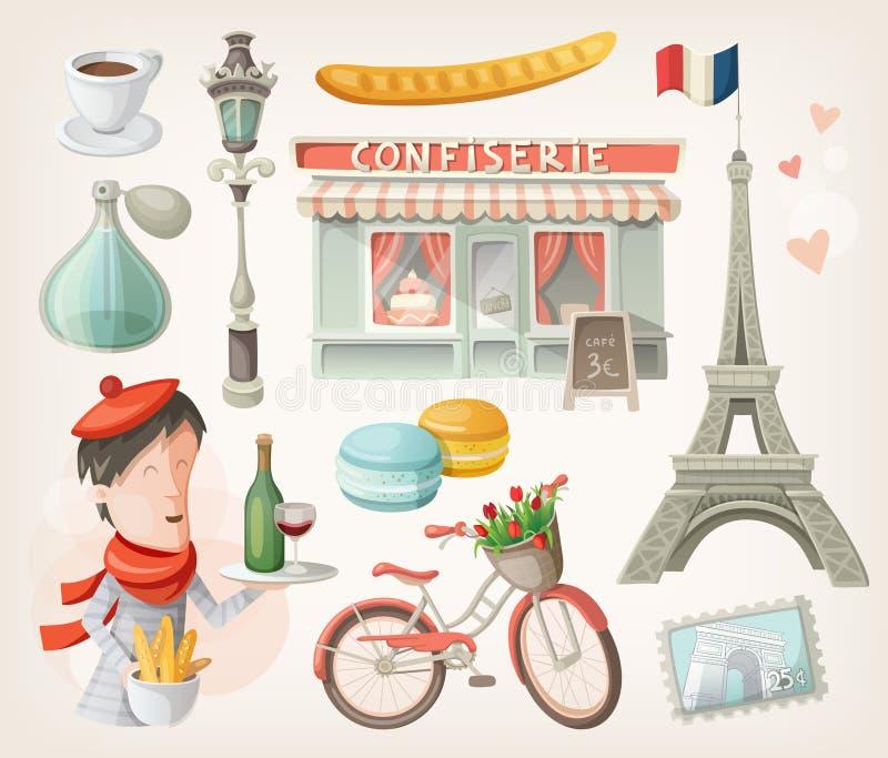 Grupo de artigos franceses ilustração do vetor