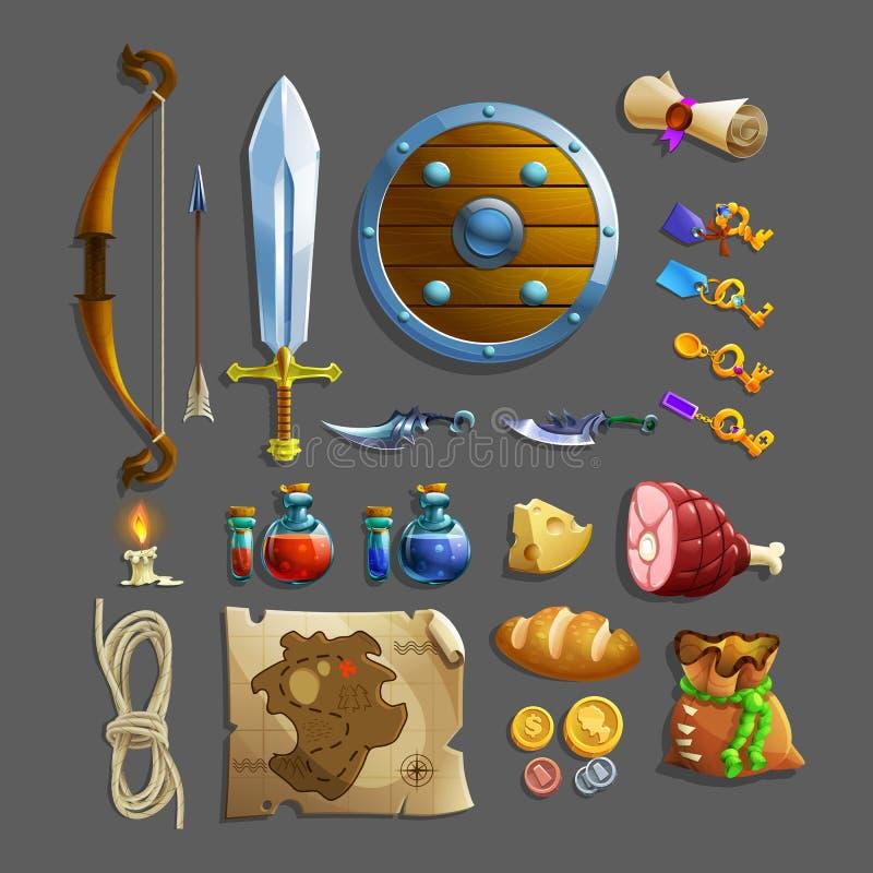 Grupo de artigos para o jogo Alimento, arma, poção e ferramentas diferentes ilustração royalty free