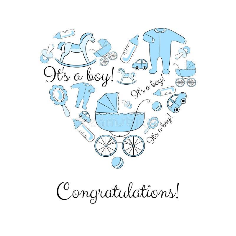 Grupo de artigos para um menino recém-nascido foto de stock royalty free