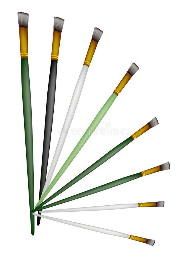 Grupo de artista Brushes no fundo branco ilustração stock