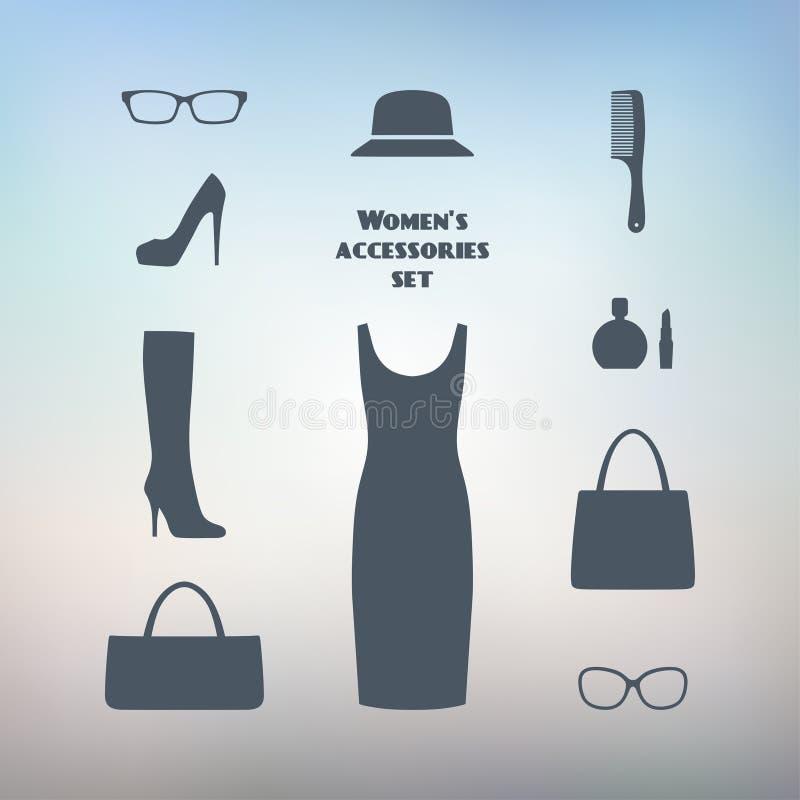 Grupo de assuntos dos acessórios e da roupa das mulheres Estilo do negócio ilustração royalty free
