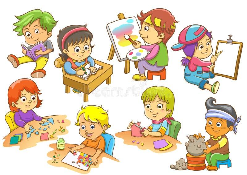 Grupo de atividades da criança ilustração royalty free