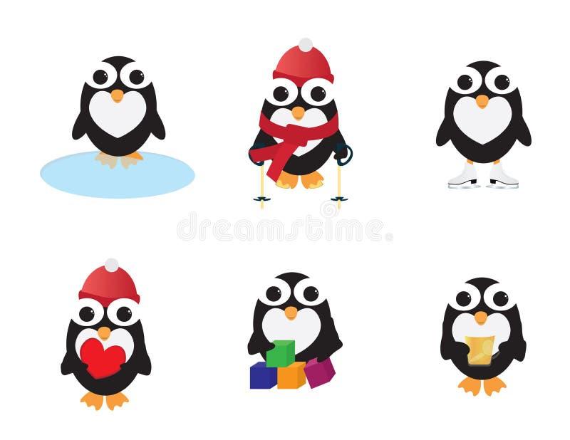 Grupo de atividades diferentes dos pinguins bonitos ilustração stock