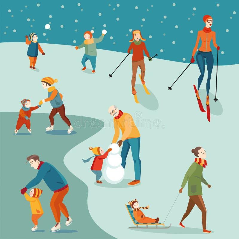 Grupo de atividades do inverno ilustração royalty free