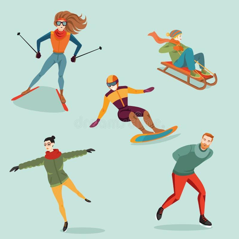 Grupo de atividades do inverno no estilo dos desenhos animados ilustração do vetor