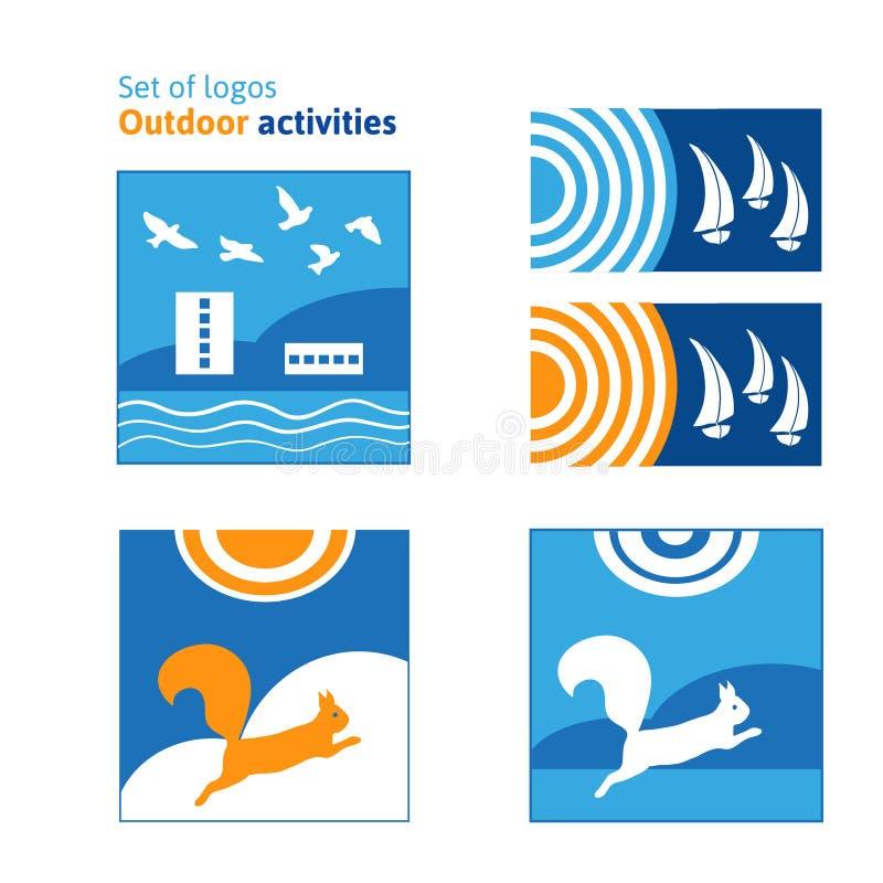 Grupo de atividades exteriores dos logotipos Resto do verão, recreação exterior ilustração royalty free