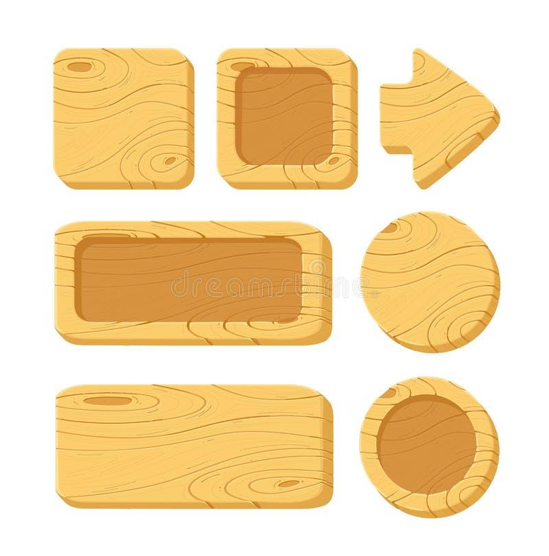 Grupo de ativos de madeira do jogo dos desenhos animados ilustração royalty free