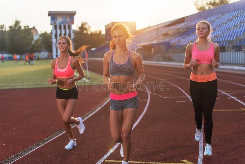 Grupo de atletas de las mujeres que corren junto en estadio imágenes de archivo libres de regalías