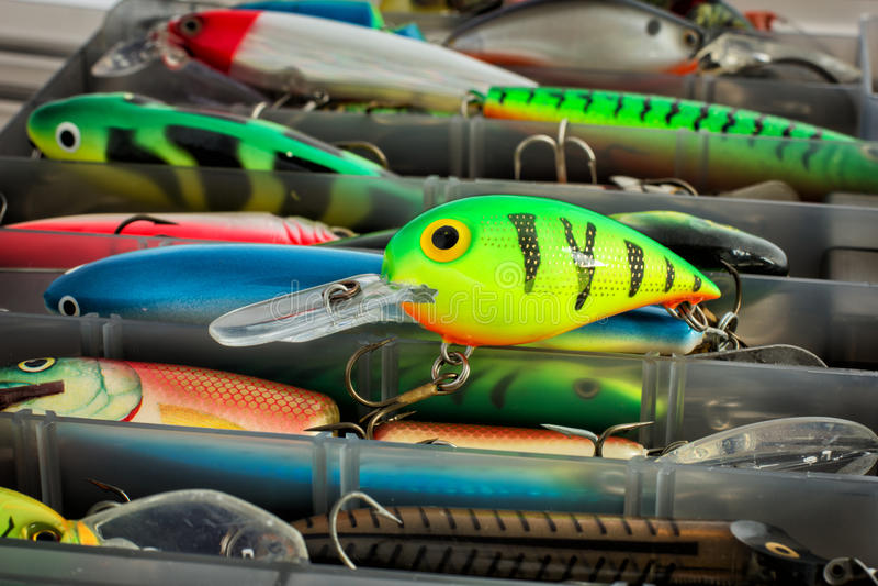 Grupo de atrações da pesca imagens de stock royalty free