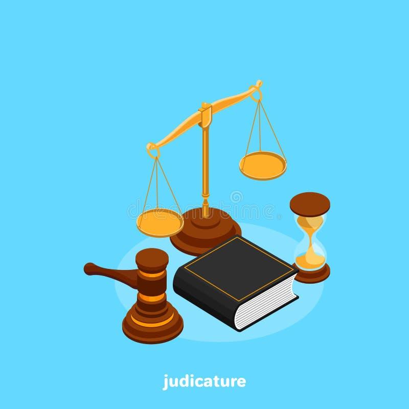 Grupo de atributos da magistratura em isométrico ilustração royalty free