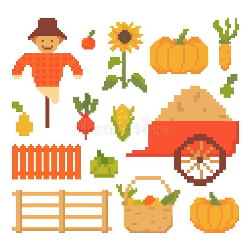 Grupo de Autumn Elements Isolated no fundo branco 8 gráficos dos bocados para jogos Ilustra??o do vetor no estilo da arte do pixe ilustração stock