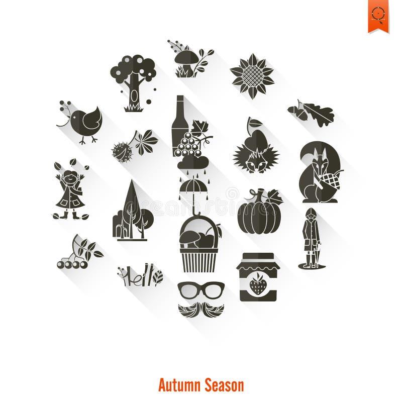 Grupo de Autumn Icons liso ilustração do vetor