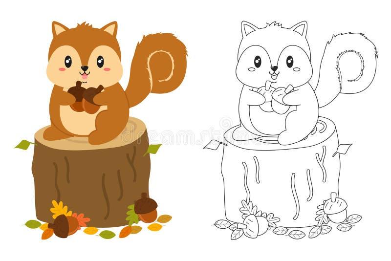 Grupo de Autumn Squirrel Coloring Page Vetora ilustração stock