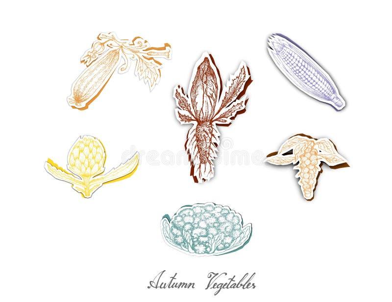 Grupo de Autumn Vegetables com arte do corte do papel ilustração royalty free