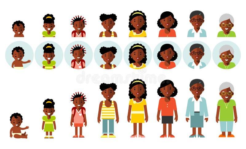 Grupo de avatars étnicos afro-americanos das gerações dos povos em idades diferentes ilustração royalty free