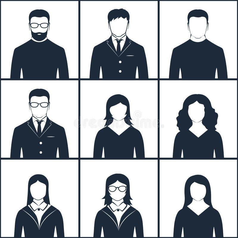 Grupo de avatars preto e branco ilustração royalty free