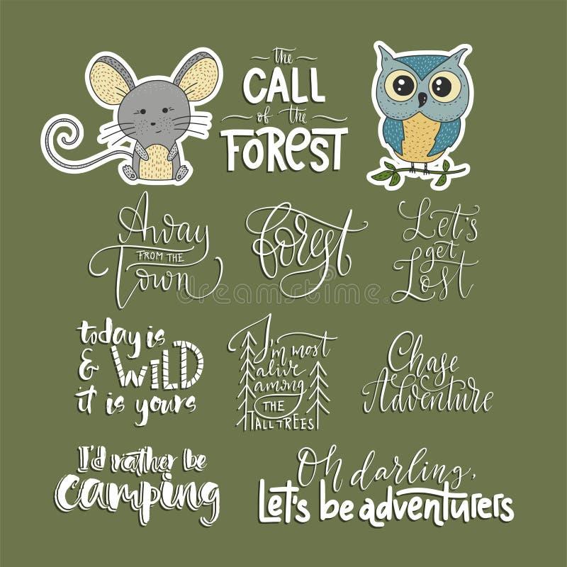 Grupo de aventura, fora e citações do vetor do curso e dois ícones dos animais ilustração royalty free
