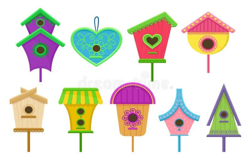 Grupo de aviários coloridos Caixas de assentamento para pássaros Elementos lisos decorativos do vetor para cartazes, cartão ou ba ilustração do vetor