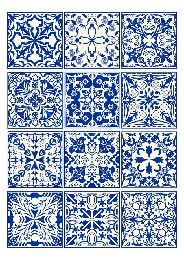 Grupo de azulejos do vintage no projeto do azulejo com testes padrões azuis no fundo branco ilustração do vetor